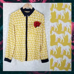 Anthro Yellow Navy Horse Print Button Down Shirt 6